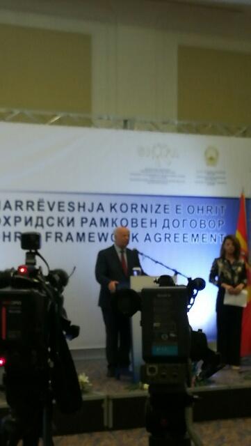 Kryetari i Gjykatës së Lartë Z. Xhezair Zaganjori mori pjesë në aktivitetet e organizuara me rastin e 16 vjetorit të nënshkrimit të Marrëveshjes së Ohrit, e cila i dha fund konfliktit të armatosur të vitit 2001 në Maqedoni.