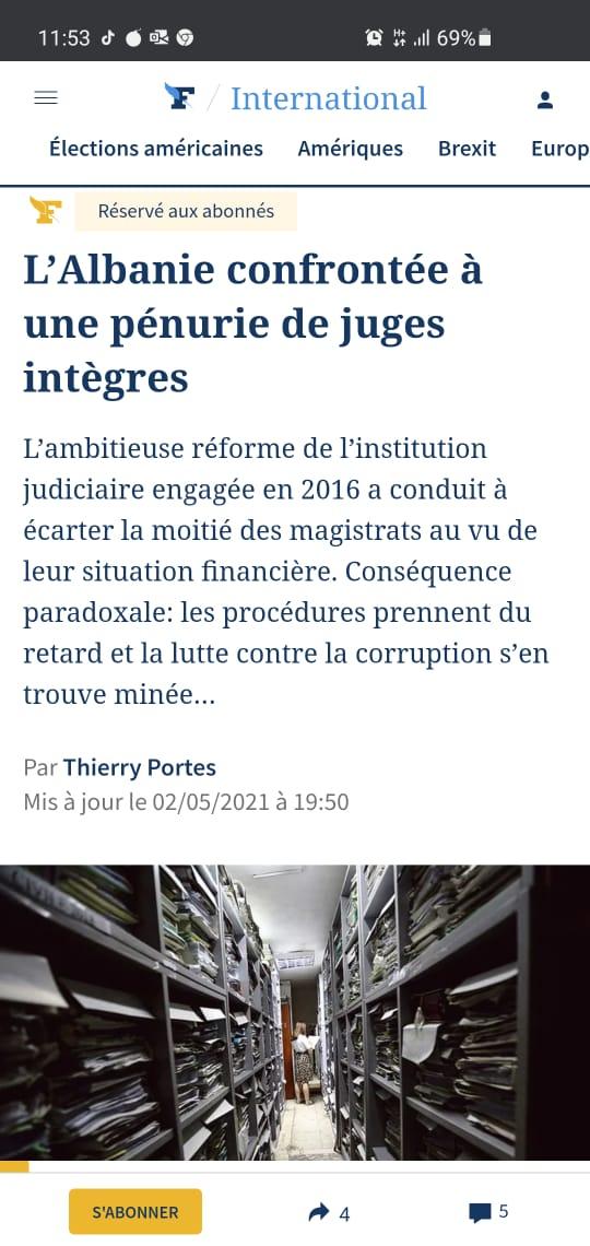 """I dërguari special i gazetës prestigjoze franceze """"Le Figaro"""", gazetari Thierry Portes, pati mundësinë të zhvillonte një intervistë mbi procesin e reformës në drejtësi me Zëvendëskryetarin e Gjykatës së Lartë Z. Sokol Sadushi."""
